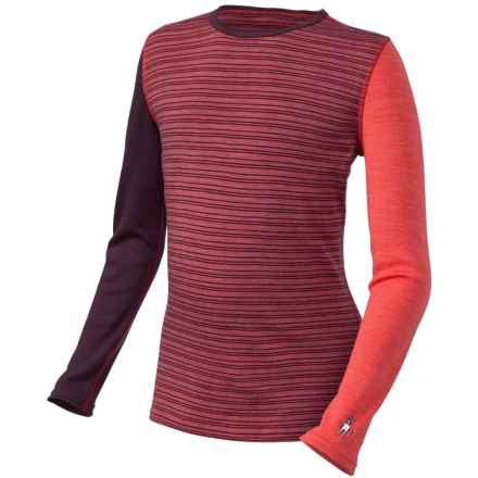 SmartWool Mid 250 Pattern Base Layer Top - Merino Wool, Crew Neck, Long Sleeve (For Little and Big Kids) in Aubergine Heather - Closeouts