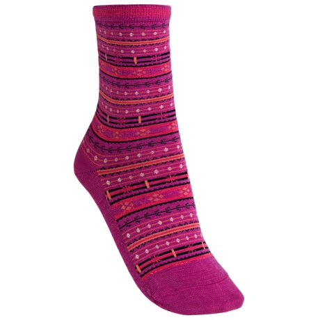 SmartWool Mini Fairisle Casual Socks - Merino Wool, Lightweight (For Women) in Berry