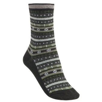 SmartWool Mini Fairisle Casual Socks - Merino Wool, Lightweight (For Women) in Chocolate Heather