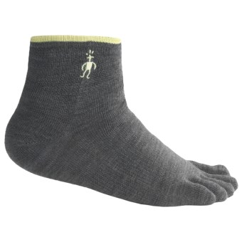 SmartWool Mini Toe Socks - Merino Wool, Quarter Crew (For Men and Women) in Graphite