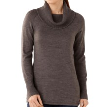 SmartWool Minturn Sweater - Merino Wool, Drape Neck (For Women) in Taupe Heathr - Closeouts