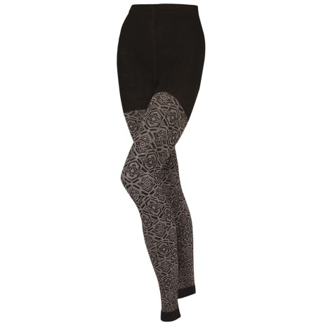 SmartWool Mirrored Footless II Tights - Merino Wool (For Women) in Chestnut Heather