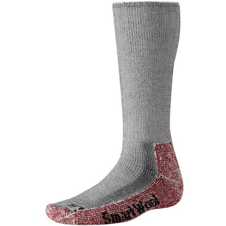 SmartWool Mountaineer Hiking Socks (For Men and Women) in Grey/Crimson