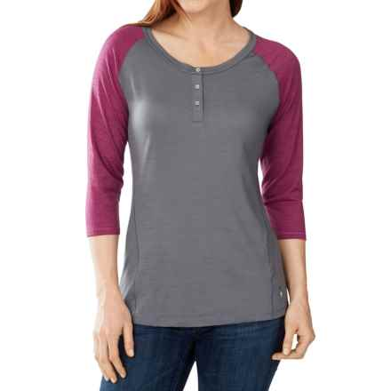 SmartWool NTS 150 Henley Shirt - Merino Wool, 3/4 Sleeve (For Women) in Bright Pink - Closeouts