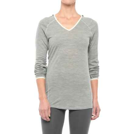 SmartWool NTS 150 Micro Pattern Hooded Base Layer Top - Merino Wool, Long Sleeve (For Women) in Silver Grey Heather - Closeouts