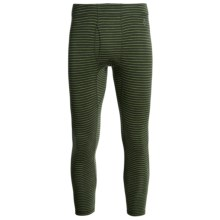 SmartWool NTS 250 Base Layer Bottoms - UPF 50+, Merino Wool, Midweight (For Men) in Olive Heather/Pesto Stripe - Closeouts