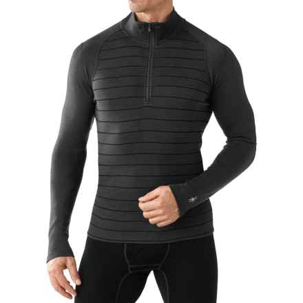 SmartWool NTS 250 Base Layer Top - Merino Wool, Zip Neck, Long Sleeve (For Men) in Charcoal Heather/Black - Closeouts