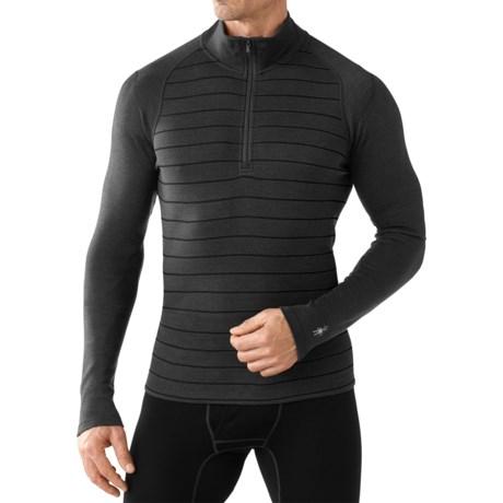 SmartWool NTS 250 Base Layer Top - Merino Wool, Zip Neck, Long Sleeve (For Men) in Charcoal Heather/Black