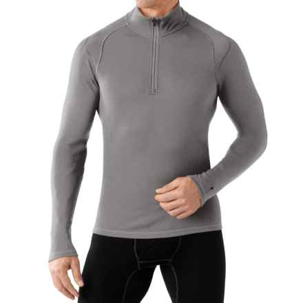 SmartWool NTS 250 Base Layer Top - Merino Wool, Zip Neck, Long Sleeve (For Men) in Light Grey Heather - Closeouts