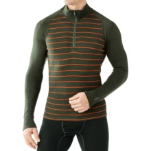 SmartWool NTS 250 Base Layer Top - Merino Wool, Zip Neck, Long Sleeve (For Men) in Olive Heather/Bright Orange - Closeouts