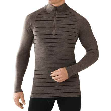 SmartWool NTS 250 Base Layer Top - Merino Wool, Zip Neck, Long Sleeve (For Men) in Taupe Heather/Black - Closeouts