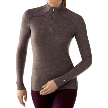SmartWool NTS 250 Base Layer Top - Merino Wool, Zip Neck, Long Sleeve (For Women) in Taupe Heather/Aubergine - Closeouts