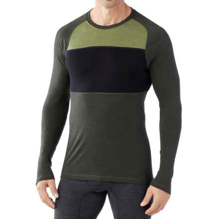 SmartWool NTS 250 Color-Block Base Layer Top - Merino Wool (For Men) in Olive Heather/Black - Closeouts