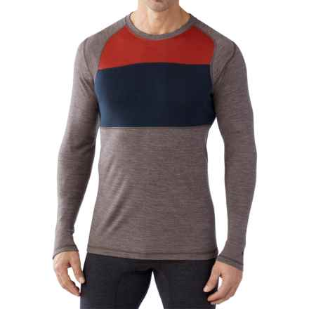 SmartWool NTS 250 Color-Block Base Layer Top - Merino Wool (For Men) in Taupe Heather - Closeouts