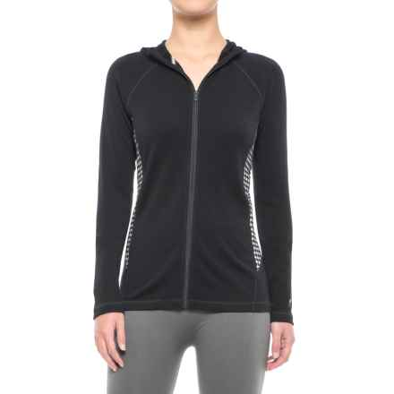 SmartWool NTS 250 Full-Zip Hooded Base Layer Top - Merino Wool, Long Sleeve (For Women) in Black/Light Gray Heather - Closeouts