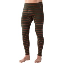 SmartWool NTS 250 Pattern Base Layer Bottoms - Merino Wool, Midweight (For Men) in Olive Heather/Bright Orange - Closeouts
