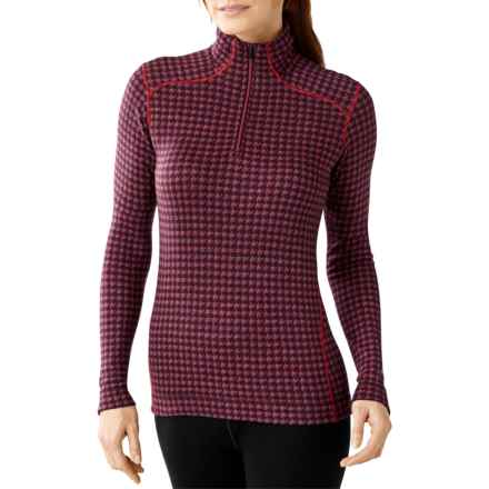 SmartWool NTS 250 Pattern Base Layer Top - Merino Wool, Zip Neck, Long Sleeve (For Women) in Aubergine Heather/Hibiscus Heather - Closeouts