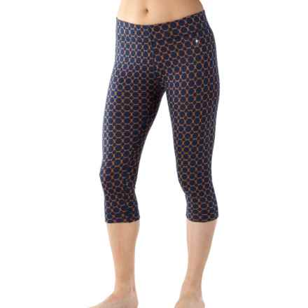 SmartWool NTS 250 Pattern Cropped Base Layer Bottoms - Merino Wool (For Women) in Indigo Heather - Closeouts