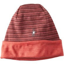 SmartWool NTS 250 Reversible Pattern Beanie - Merino Wool (For Men and Women) in Aubergine Heather - Closeouts