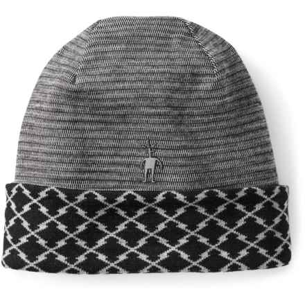 SmartWool NTS 250 Reversible Pattern Beanie - Merino Wool (For Men and Women) in Black - Closeouts