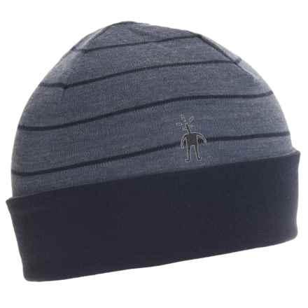 SmartWool NTS 250 Reversible Pattern Beanie - Merino Wool (For Men and Women) in Dark Blue Steel Heather - Closeouts