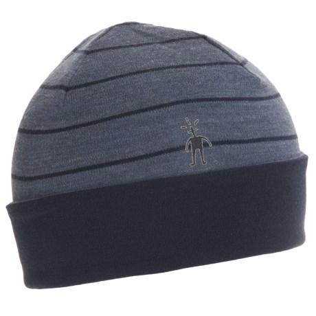 SmartWool NTS 250 Reversible Pattern Beanie - Merino Wool (For Men and Women) in Dark Blue Steel Heather