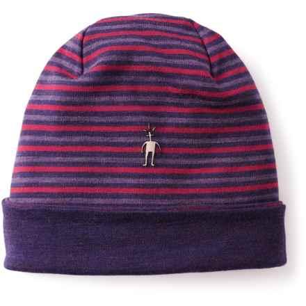 SmartWool NTS 250 Reversible Pattern Beanie - Merino Wool (For Men and Women) in Mountain Purple Heather - Closeouts
