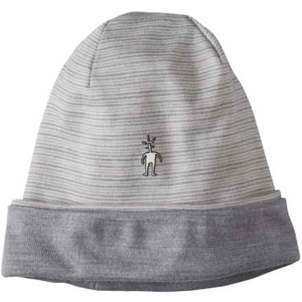 SmartWool NTS 250 Reversible Pattern Beanie - Merino Wool (For Men and Women) in Natural/Light Gray Heather - Closeouts