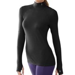SmartWool NTS Asymmetrical Base Layer Mock Top - Merino Wool, Lightweight, Long Sleeve (For Women) in Black