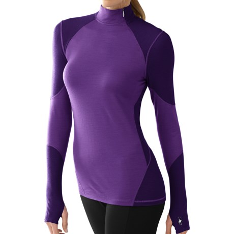 SmartWool NTS Asymmetrical Base Layer Mock Top - Merino Wool, Lightweight, Long Sleeve (For Women) in Grape
