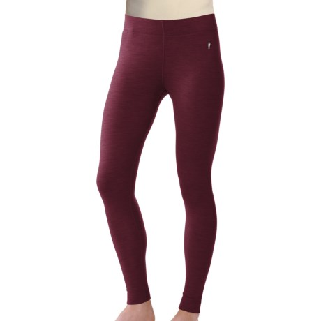 SmartWool NTS Base Layer Bottoms - Merino Wool, Midweight (For Women) in Wine Heather