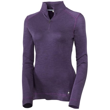 Smartwool NTS Base Layer Top - Midweight Merino Wool, Zip Neck, Long Sleeve (For Women) in Aegean Heather