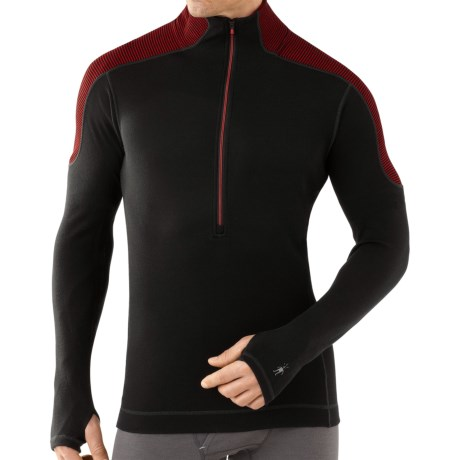 SmartWool NTS Funnel Zip Base Layer Top - Merino Wool, Midweight, Long Sleeve (For Men) in Black/Red