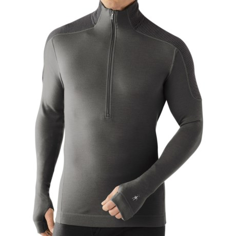 SmartWool NTS Funnel Zip Base Layer Top - Merino Wool, Midweight, Long Sleeve (For Men) in Graphite