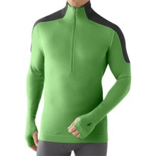 SmartWool NTS Funnel Zip Base Layer Top - Merino Wool, Midweight, Long Sleeve (For Men) in Lime - Closeouts