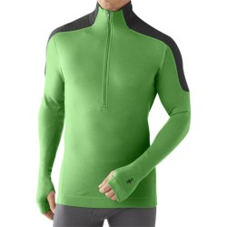 SmartWool NTS Funnel Zip Base Layer Top - Merino Wool, Midweight, Long Sleeve (For Men) in Lime