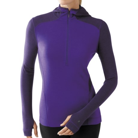 SmartWool NTS Hooded Base Layer Top - UPF 50+, Zip Neck, Midweight (For Women) in Grape