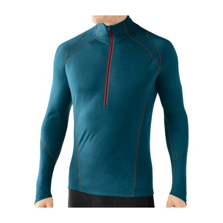 SmartWool NTS Lightweight Base Layer Top - Merino Wool, Zip Neck, Long Sleeve (For Men) in Deep Sea