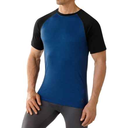 SmartWool NTS Micro 150 Base Layer Top - Merino Wool, Crew Neck, Short Sleeve (For Men) in Bright Blue - Closeouts