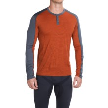 SmartWool NTS Micro 150 Henley Base Layer Top - Merino Wool, Long Sleeve (For Men) in Bright Orange - Closeouts
