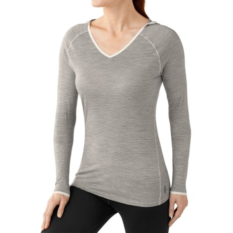 SmartWool NTS Micro 150 Hooded Base Layer Top - Merino Wool, Long Sleeve (For Women) in Silver Grey Heather