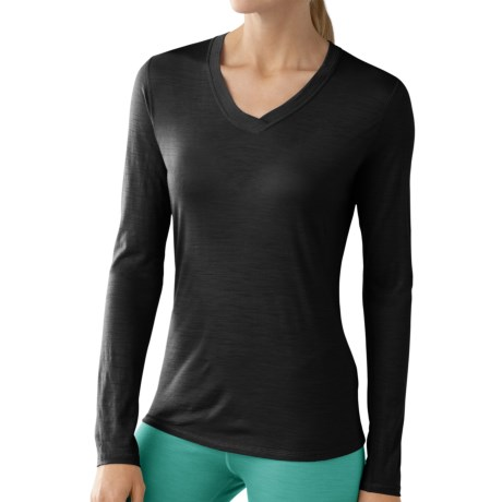 SmartWool NTS Microweight Base Layer Top - Merino Wool, V-Neck, Long Sleeve (For Women) in Black