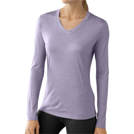 SmartWool NTS Microweight Base Layer Top - Merino Wool, V-Neck, Long Sleeve (For Women) in Lavender