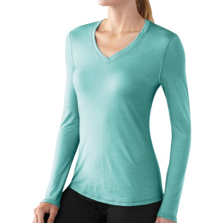 SmartWool NTS Microweight Base Layer Top - Merino Wool, V-Neck, Long Sleeve (For Women) in Mineral