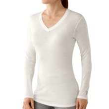 SmartWool NTS Microweight Base Layer Top - Merino Wool, V-Neck, Long Sleeve (For Women) in Natural Pointille - Closeouts