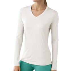 SmartWool NTS Microweight Base Layer Top - Merino Wool, V-Neck, Long Sleeve (For Women) in Natural