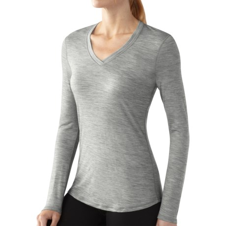 SmartWool NTS Microweight Base Layer Top - Merino Wool, V-Neck, Long Sleeve (For Women) in Silver Grey Heather