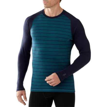 SmartWool NTS Mid 250 Pattern Base Layer Top - Merino Wool, Crew Neck, Long Sleeve (For Men) in Deep Sea Heather - Closeouts