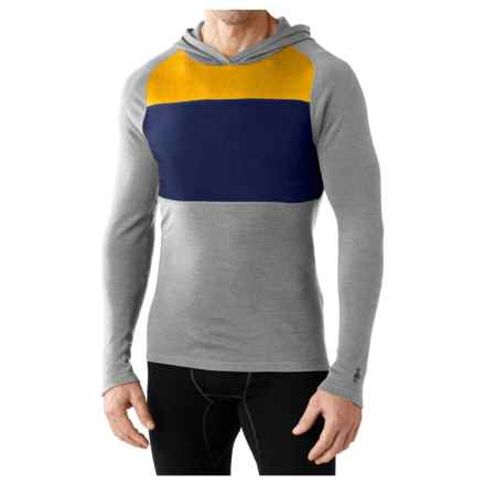 SmartWool NTS Midweight 250 Color-Block Hoodie - Merino Wool (For Men) in Light Gray Heather - Closeouts