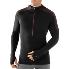 SmartWool NTS Midweight Base Layer Hoodie Sweatshirt - Merino Wool, Zip Neck (For Men) in Black - Closeouts